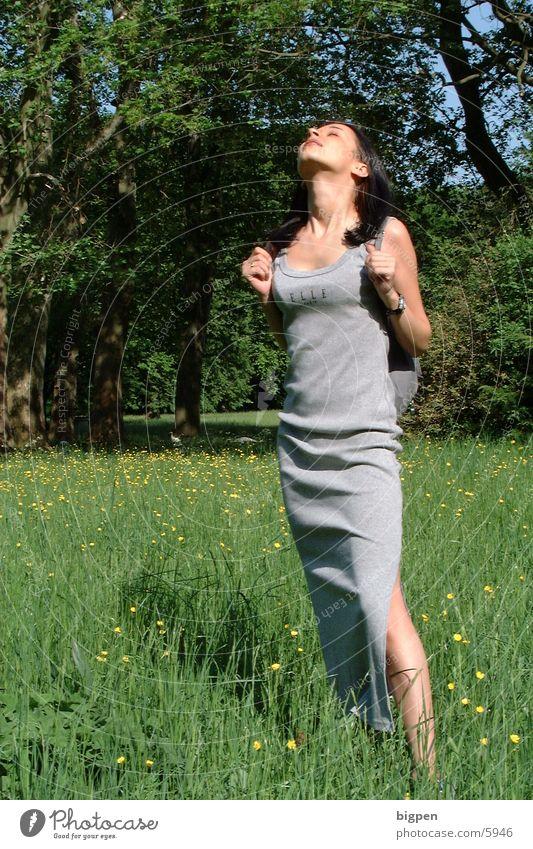 Woman Beautiful Sun Flower Green Summer Meadow Dress To enjoy Clothing