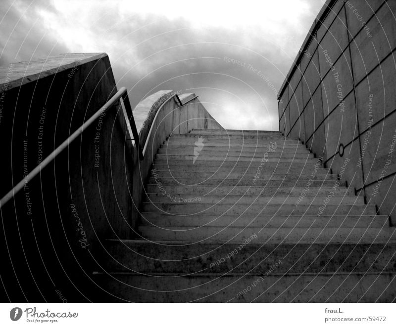 Sky Loneliness Dark Architecture Gray Wall (barrier) Rain Concrete Stairs Modern Handrail Elbe Eerie