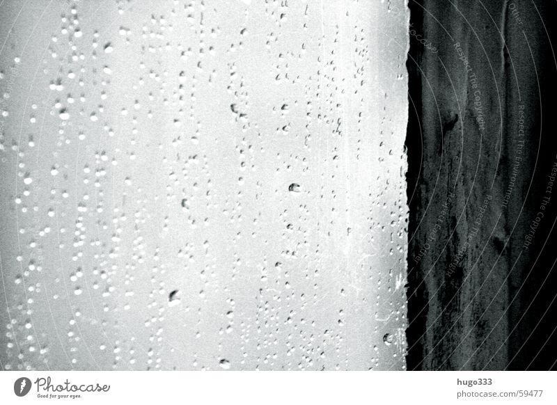 April weather Window Drops of water Room Window cleaning Unclear Window pane Frame Water Weather Rain drip water Water drops outside Black & white photo