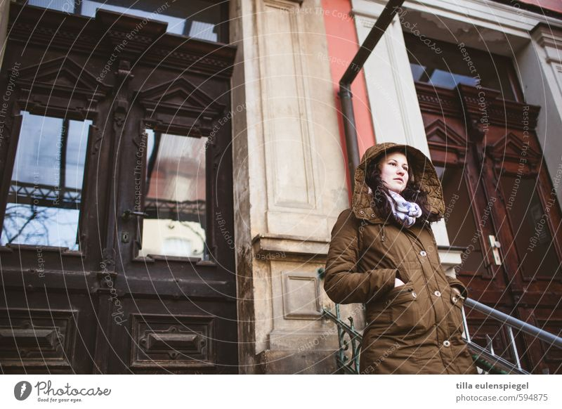 outside Winter House (Residential Structure) Feminine Young woman Youth (Young adults) 1 Human being 18 - 30 years Adults Town Facade Door Coat Freeze Looking