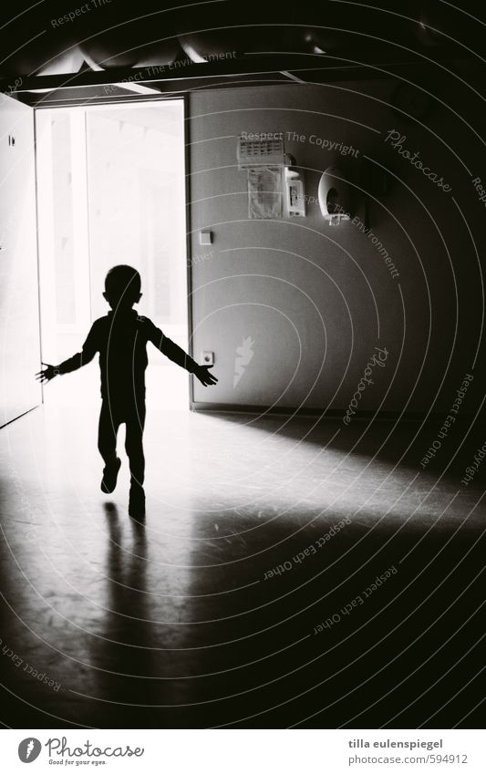 shadow child Masculine Child Boy (child) Infancy 1 Human being Walking Stand Dark Black White Fear Door Contour Eerie Creepy Flare Light Shadow Shadow play