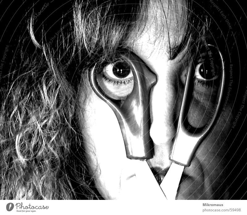 Woman Face Eyes Mouth Nose Crazy Eyeglasses Fantastic Obscure False Scissors Wacky