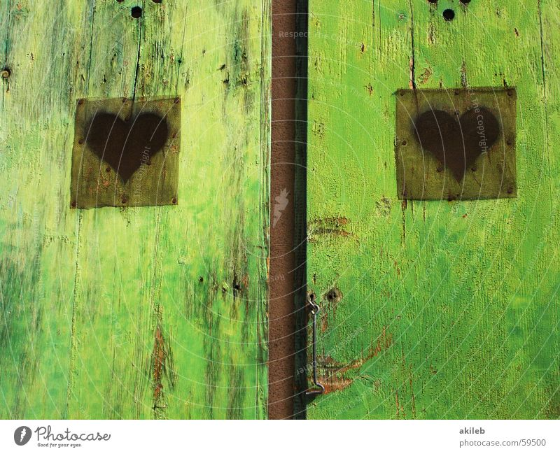 love door Green Window Wood 2 Paintwork Exterior shot Bleached France Shutter Multicoloured Happiness Open Calm Scratch mark Reflection Door Heart Love