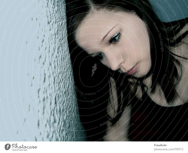 Woman Blue Calm Loneliness Face Eyes Cold Dark Wall (building) Emotions Gray Head Hair and hairstyles Style Sadness Wall (barrier)