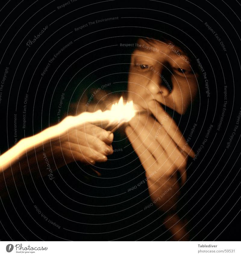 kindling Light Lightning Lighter Ignite Burn Match Cigarette Night Dark Fingers Hand Long exposure Blur Blaze Smoking Face Head Dark background
