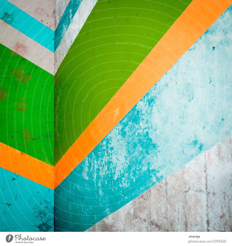 trend Elegant Style Design Wall (barrier) Wall (building) Line Stripe Old Sharp-edged Simple Hip & trendy Retro Gray Green Orange Turquoise Colour Decline
