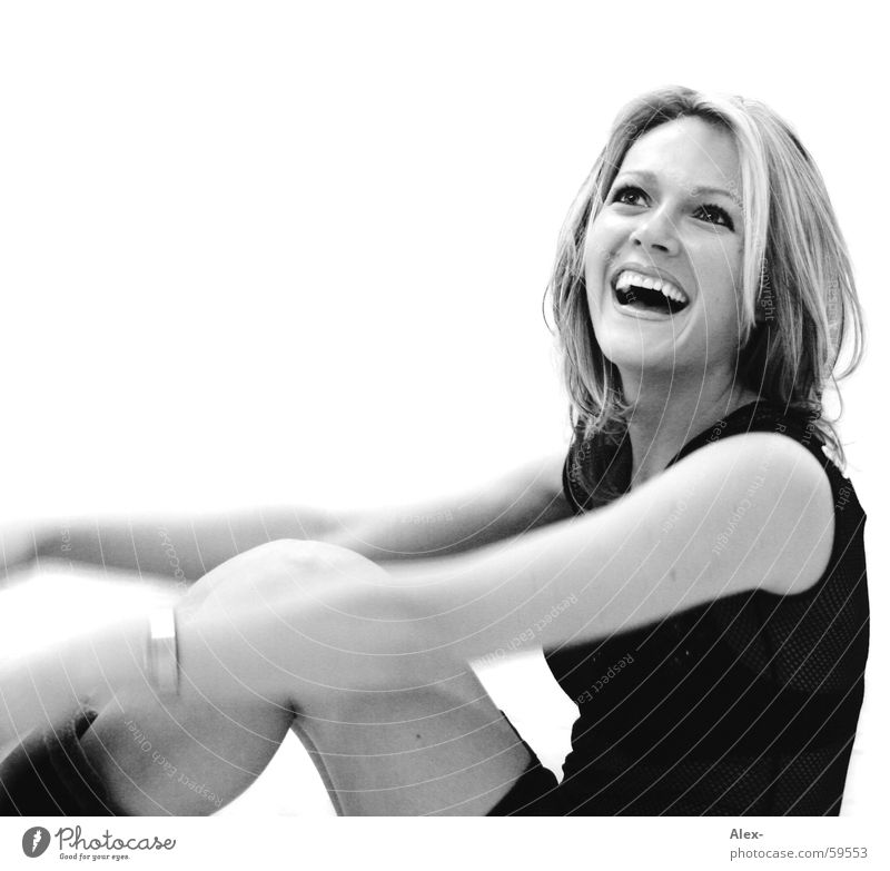 zest for life Woman Beautiful Cute Sweet Happiness Joie de vivre (Vitality) Black White Blonde Portrait photograph Laughter Happy Joy Black & white photo Sit