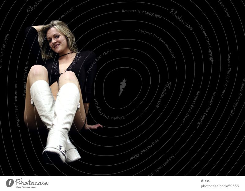 Woman White Beautiful Black Eroticism Hair and hairstyles Laughter Blonde Sit Wait Boots Alluring