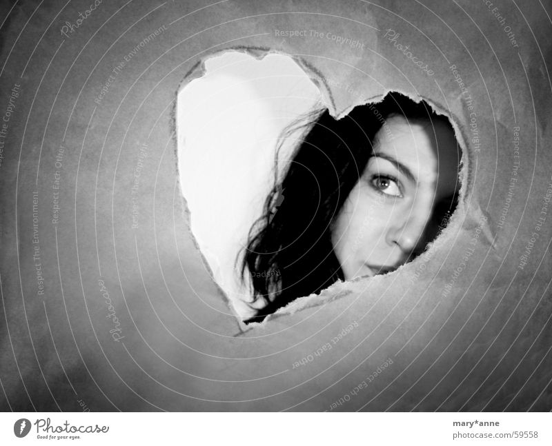 Woman Face Love Emotions Heart Longing Black White Photo