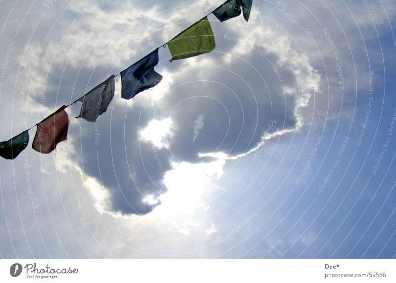 Tibetan prayer flags Nepal Flag Prayer flags Clouds Sunbeam White Green Air Mount Everest Mountaineering Crash Himalayas Sky Wind flying flags waving flags Blue
