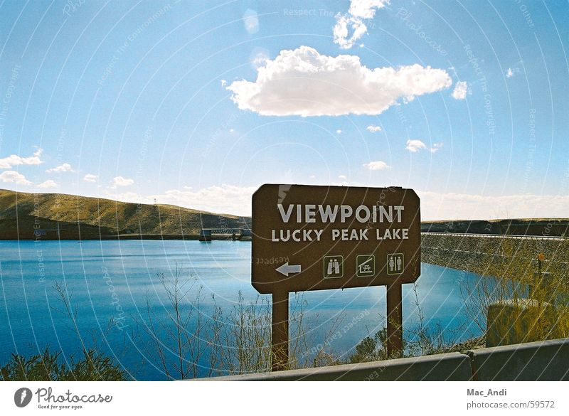 vantage point Vantage point Lake Idaho Back-light Boise City viewpoint Street Retaining wall USA overview Lucky Peak State Park Sky Water