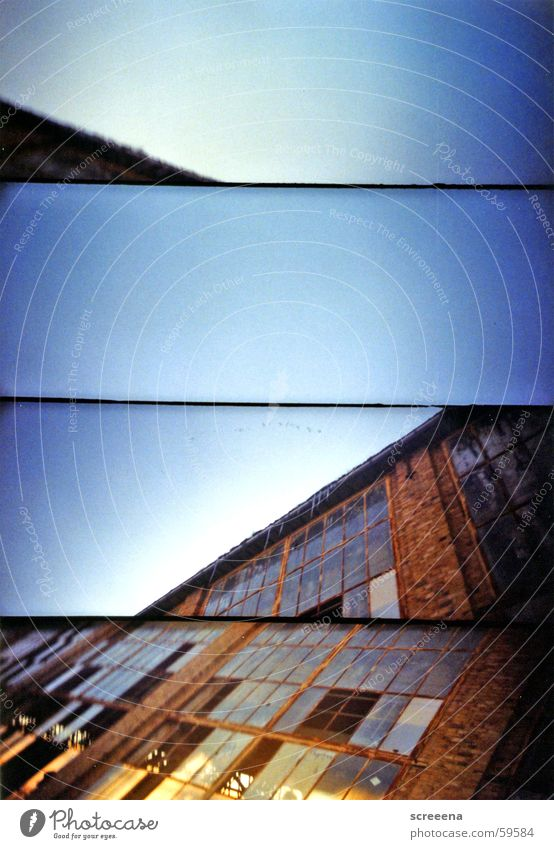 floating points House (Residential Structure) Leipzig Window Broken Industrial Photography Lomography supersampler Glass Sky Blue Orange Stone Crazy Destruction