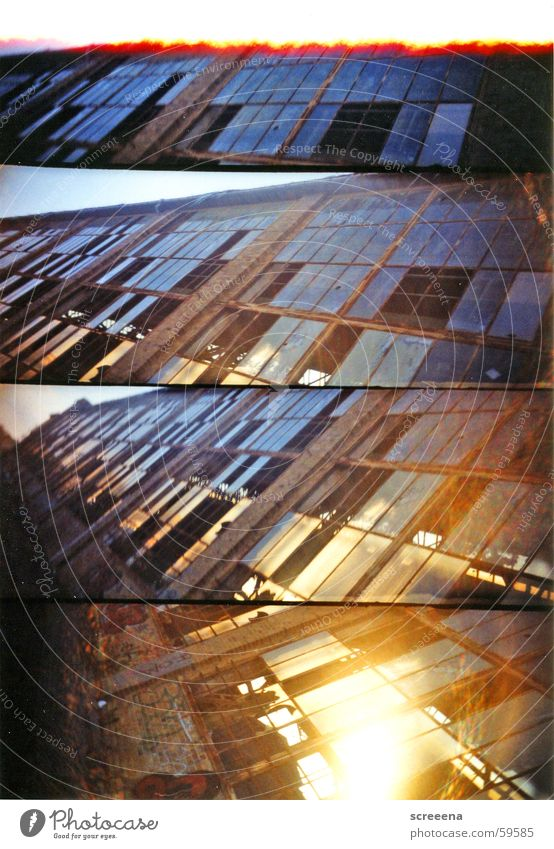 metric House (Residential Structure) Leipzig Window Broken Industrial Photography Lomography supersampler Glass Sky Blue Orange Stone Crazy Destruction