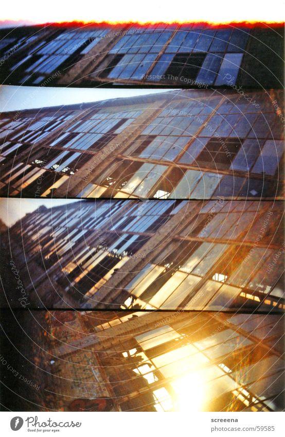 Sky Blue House (Residential Structure) Window Stone Orange Glass Crazy Industrial Photography Broken Leipzig Destruction Saxony