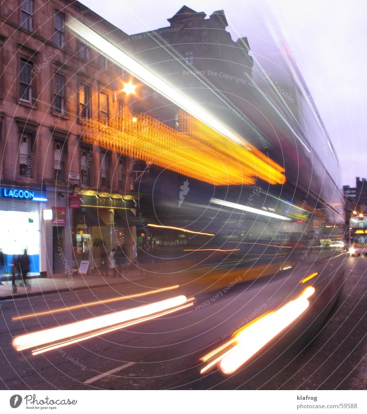 Block-Bus-Da! Glasgow Double-decker bus Light Long exposure Scotland Great Britain Town Housefront Life Transport Speed Dangerous Time machine Stop Comprehend