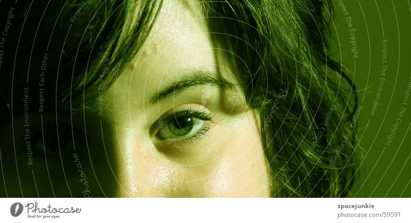 Woman Green Face Black Eyes Hair and hairstyles Eyebrow