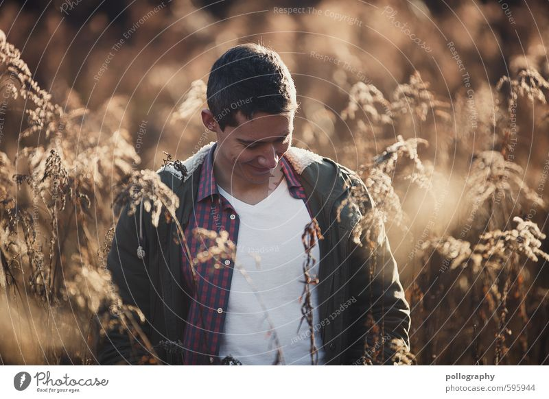 Human being Nature Youth (Young adults) Man Plant Joy 18 - 30 years Winter Young man Adults Life Emotions Feminine Autumn Grass Happy
