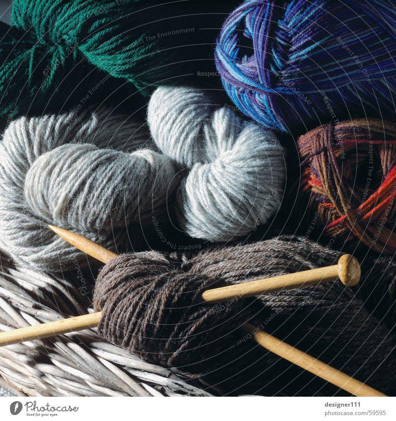 Women's work ;-) Wool Knit Basket Knitting needle Green Red Gray Brown Knitted sweater Sweater Stockings Blue Housekeeping