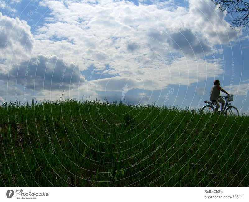 Woman Sky Clouds Meadow Bicycle Cycling