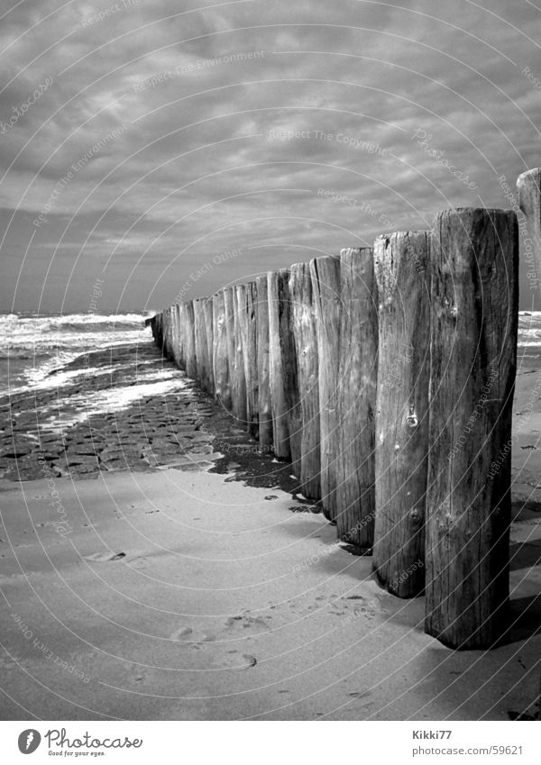 BeachFence Wood Clouds Ocean Bad weather Passion Waves Sand Pole Stone