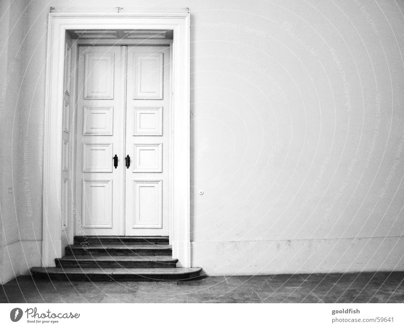 nobody at home Entrance Simple Closed Loneliness Wall (building) Old building Hall Door Black & white photo Stairs Room Castle