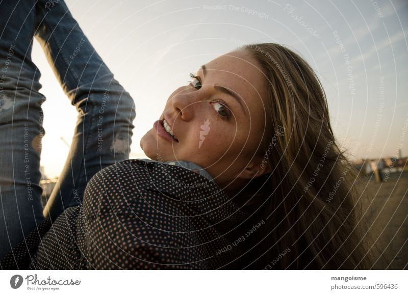 Look! Young woman Youth (Young adults) Head Beautiful Kitsch Modern Curiosity Athletic Blue Self-confident Desire Watchfulness Future Insecure Easygoing Roof