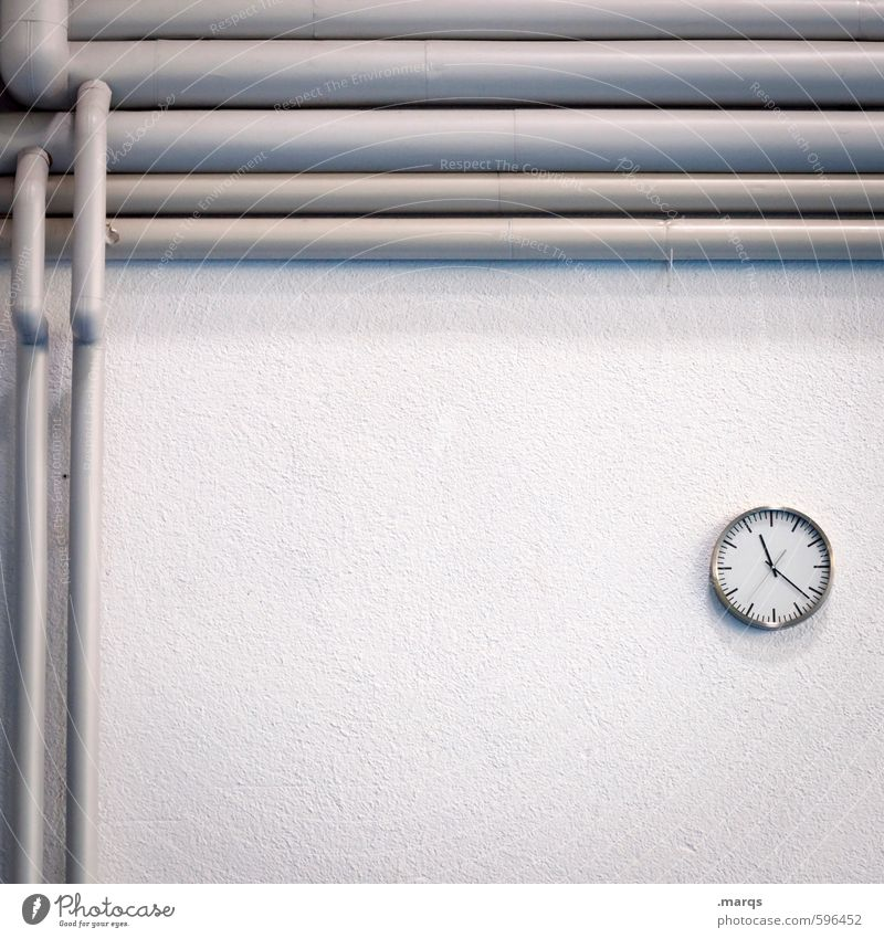 White Wall (building) Interior design Wall (barrier) Gray Time Bright Work and employment Business Clock Beginning Simple Pipe Date Precision Prompt