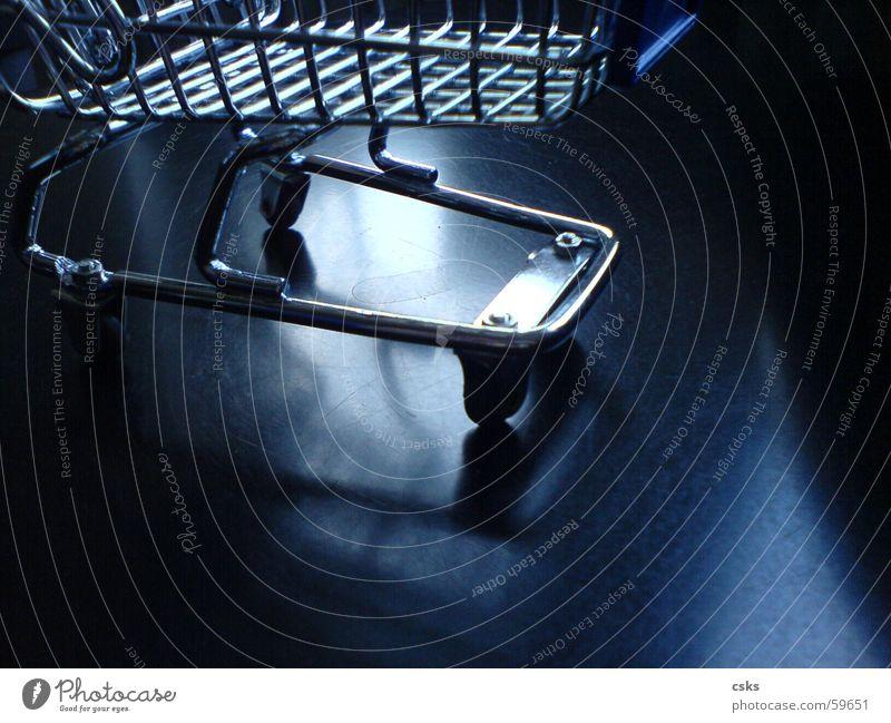 shopping! Shopping Shopping Trolley Black Reflection Glittering Basket Shopping basket Blue Silver Coil
