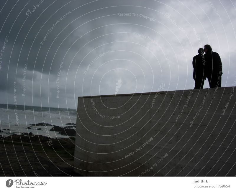 2 by the sea Ocean Wall (barrier) Wall (building) Surf Gray Dramatic Blue