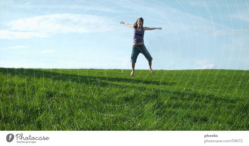 Jump! Meadow Green Grass Clouds Woman Sky Blue Lawn Shadow Joy Freedom