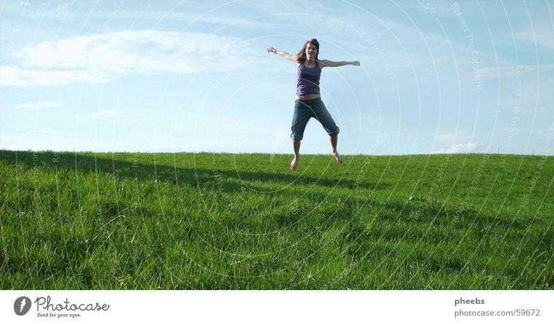 Woman Sky Green Blue Joy Clouds Meadow Jump Grass Freedom Lawn