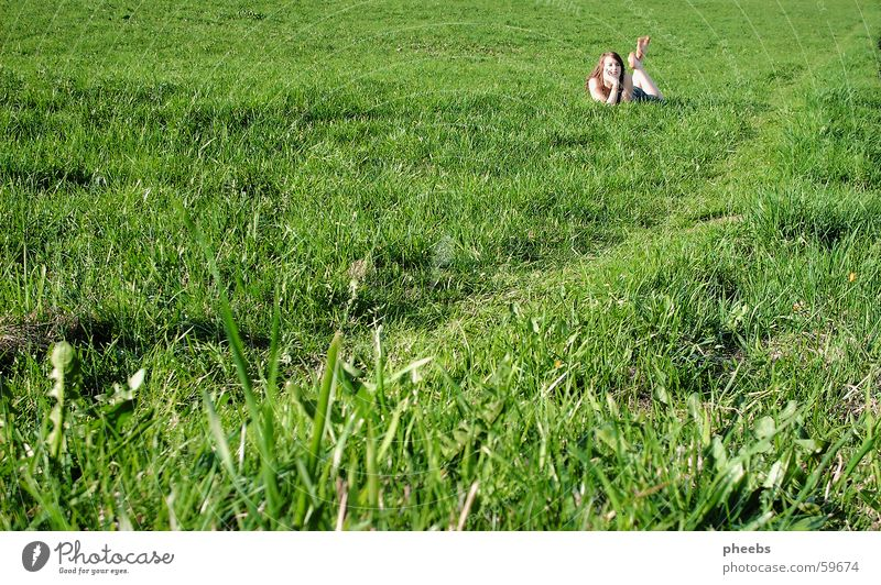 Woman Green Meadow Grass Lanes & trails Field Lawn Lie Blade of grass