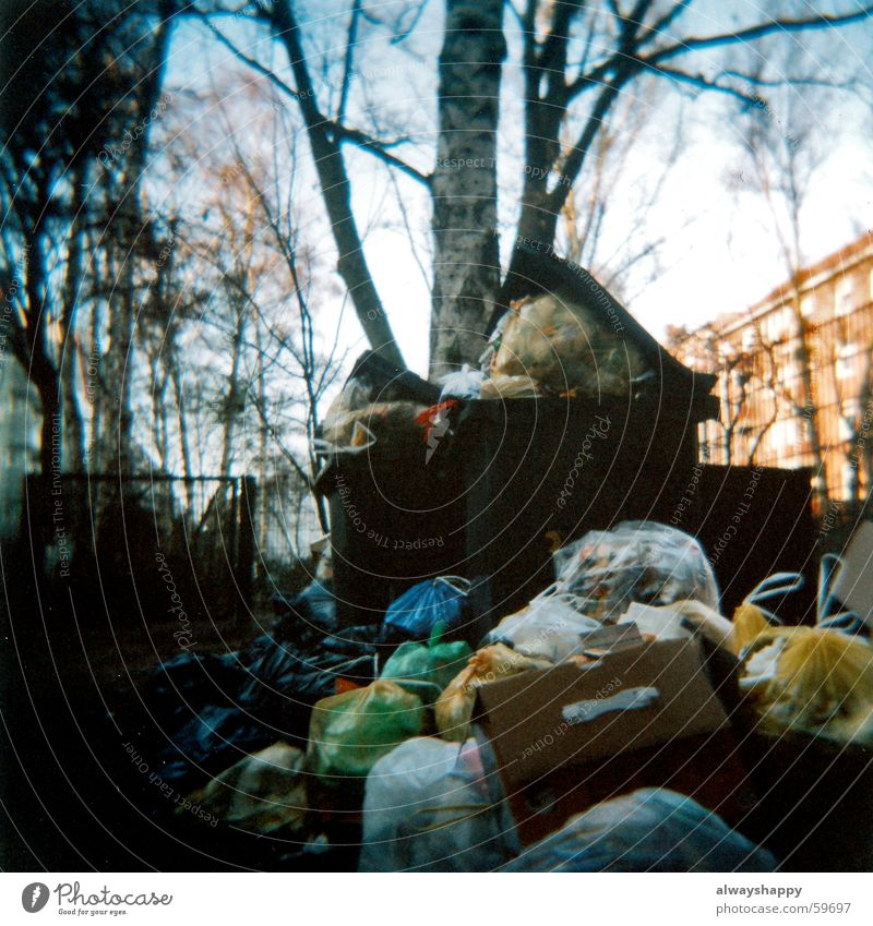 industrial action Trash Backyard Trash container Hideous Holga Garbage bag Refuse disposal Strike Medium format waste bins garbage Odor Dirty ugly rubbish