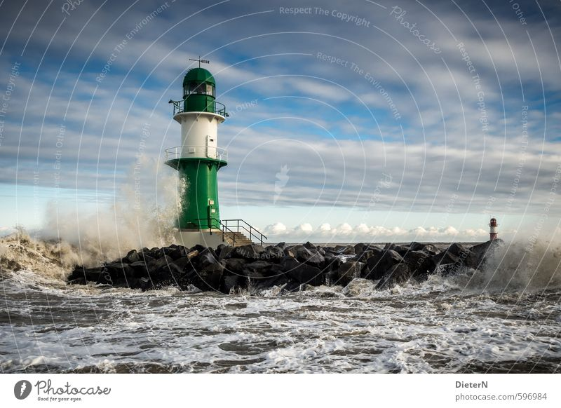 beacons Water Sky Clouds Winter Gale Waves Coast Baltic Sea Lighthouse Green Black White Warnemünde Beacon Mole Colour photo Exterior shot Deserted