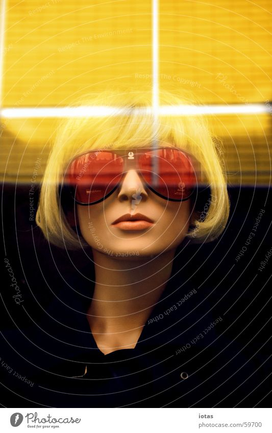 mannequin Model Style Close-up Blonde Fair Light Yellow Mannequin Shop window Wig Woman Sunglasses Eyeglasses Reflection Cold Lips Red Porno glasses Might