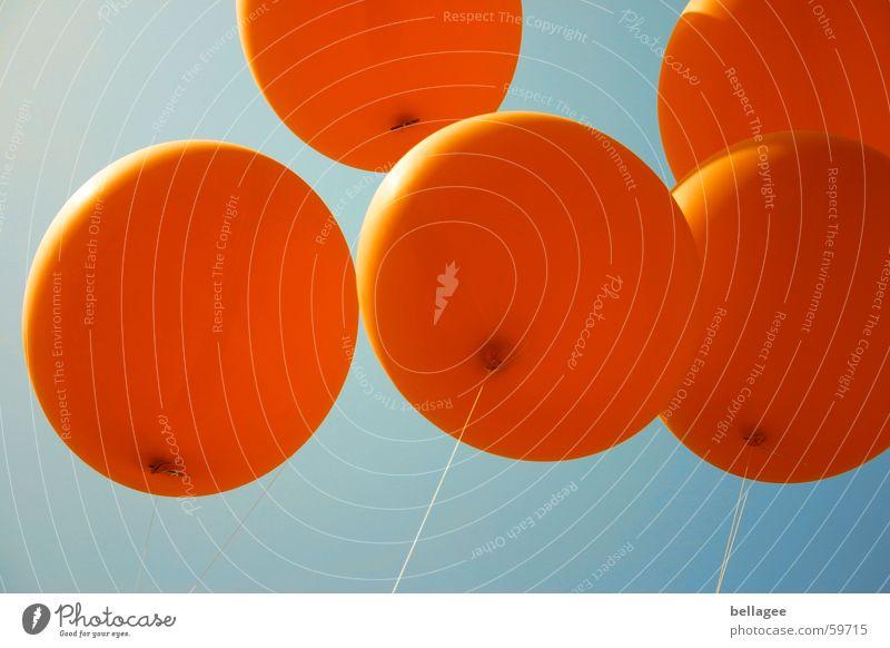 Let them fly4 String Joie de vivre (Vitality) Balloon Flying Worm's-eye view Rubber Blue Orange Sky Aviation Rope Upward Knot