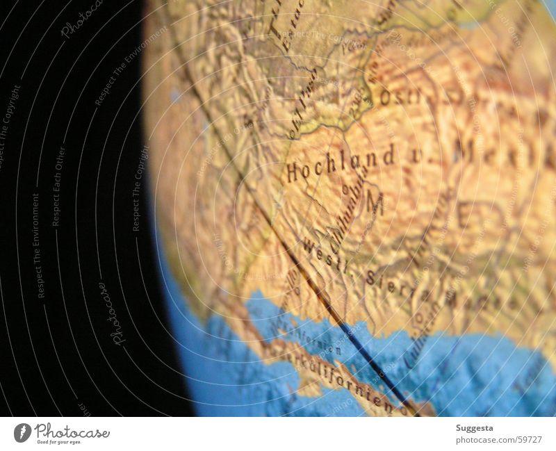 globe High plain Corner Horizon Brown Globe Black Line Earth Sphere Water Americas Blue Universe