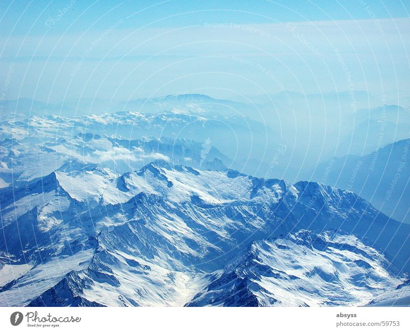 Sun Blue Airplane Fog Aviation Alps Beautiful weather