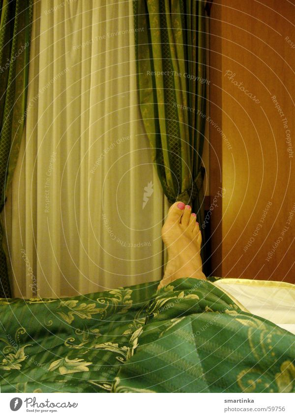 Woman Green Feet Wait Electricity Bed Hotel Drape Agree Hotel room