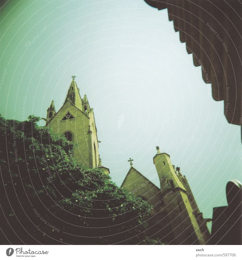 First 2014 | analog start Vacation & Travel Summer Summer vacation Tree St. Rémy France Small Town Downtown Old town Deserted Church Dome Sign Green Belief