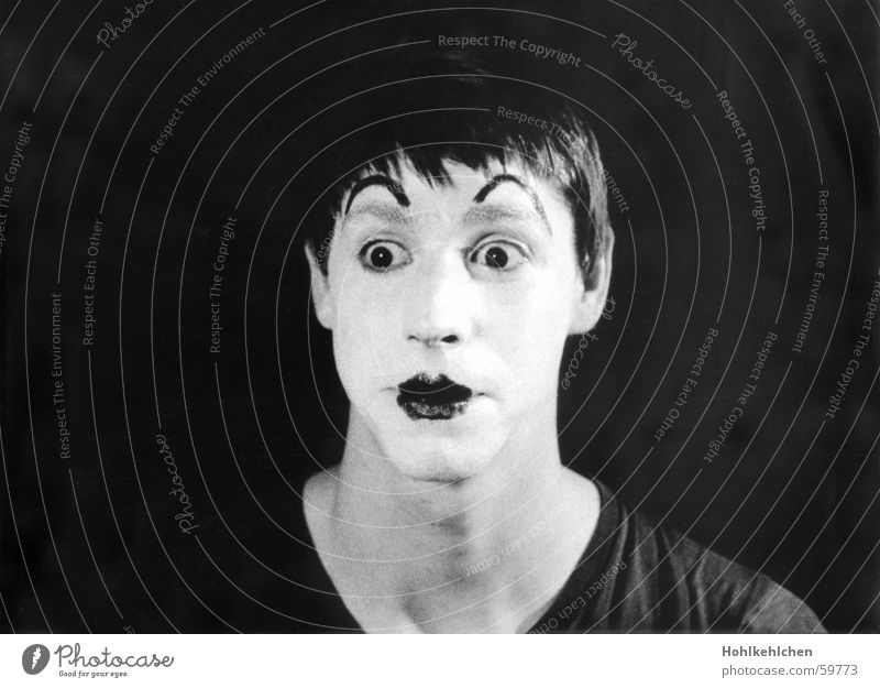 Alexander Popov Man Clown Portrait photograph Studio shot Wearing makeup Surprise Reluctant Pantomimist The thirties Black & white photo Face Neck Funny Old