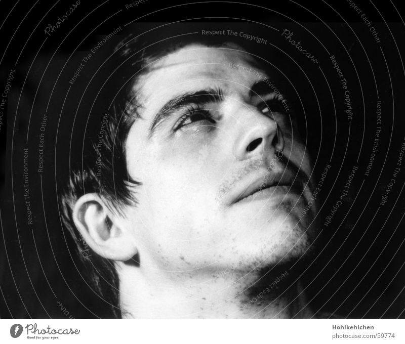 real heroes Man Portrait photograph Studio shot Unshaven Looking Dynamism Face Black & white photo Hero Upward alex