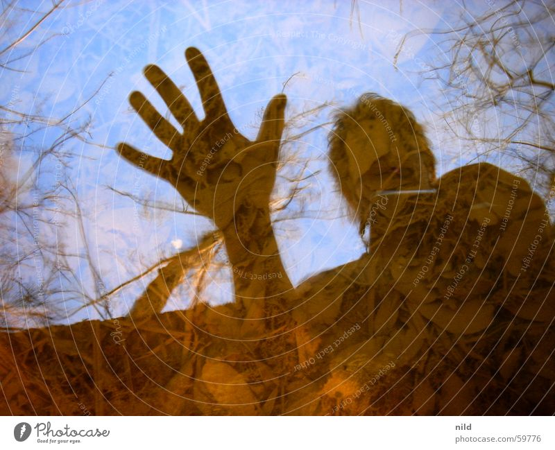 Mirror, mirror... Reflection Surface of water Hand Stay Warn Leaf Abstract Contrast Brook Silhouette Water Sky Stop Floor covering Clarity Nature Exterior shot