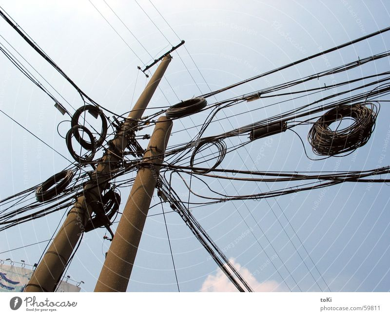 Sky Blue Summer Tall Electricity Cable Asia China Electricity pylon Impressive North Pole Shanghai Telecommunications