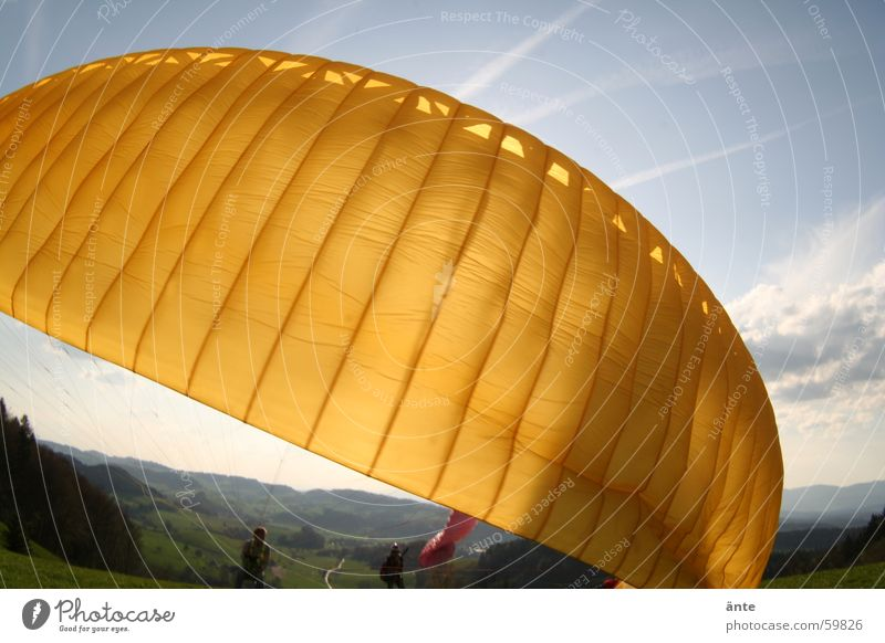 paraglider session II Paraglider Cloth Yellow Paragliding Fisheye Beginning Sky Material Flashy Departure Aviation Extreme sports startable Rag Bright Sun