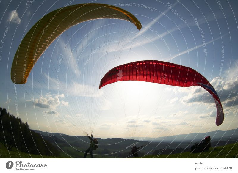Sky Sun Red Joy Clouds Yellow Freedom Couple Bright Moody 2 Beginning Aviation In pairs Beautiful weather Parachute
