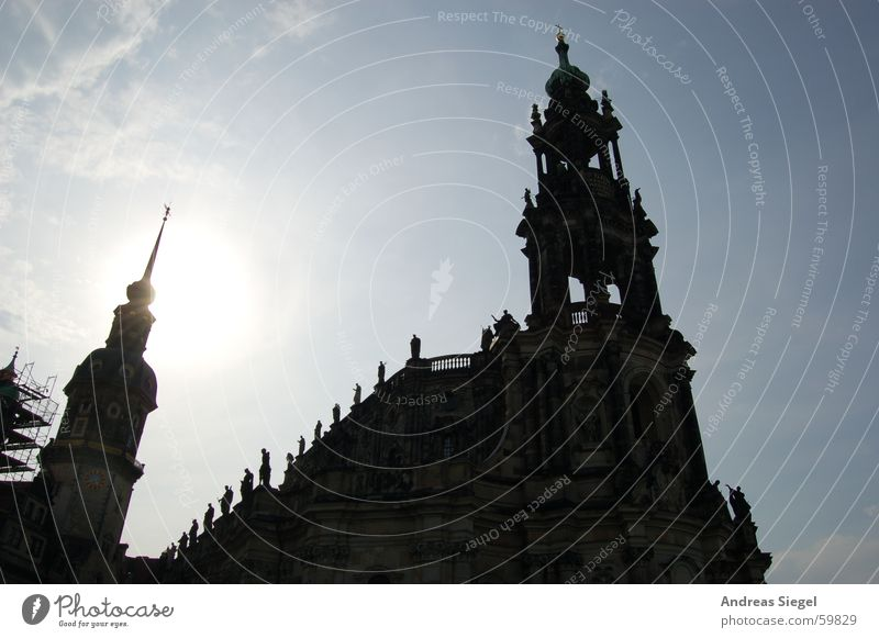 Sky Sun Black Clouds Bright Religion and faith Tower Dresden Historic Flashy Old town House of worship Hofkirche