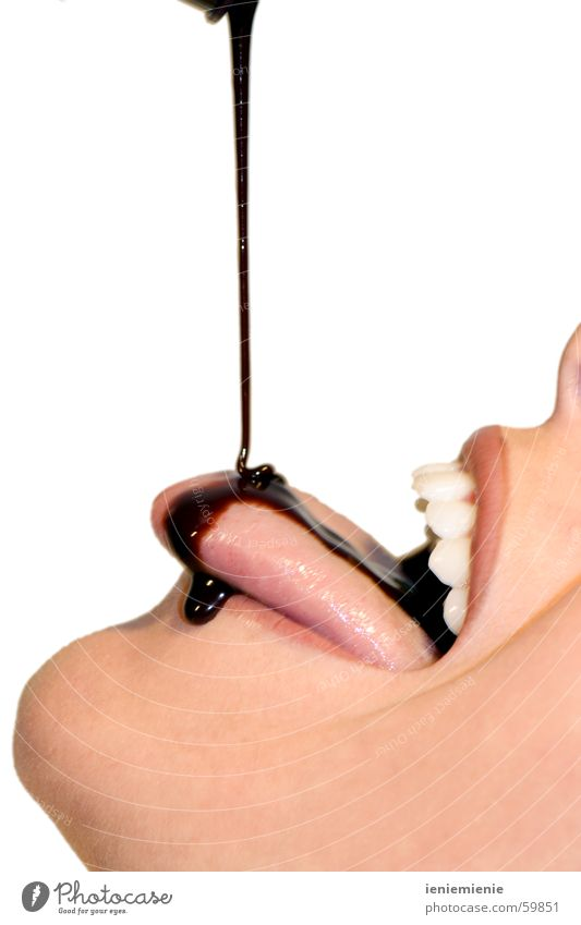 Woman Mouth Search Teeth Candy Chocolate Hot Chocolate Syrup
