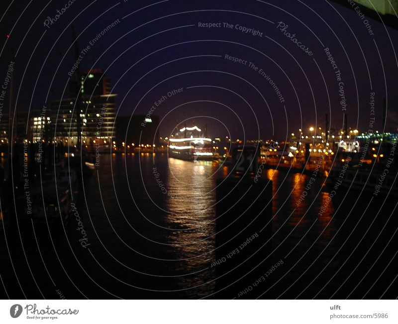 Port of Hamburg Night Europe Harbour Elbe