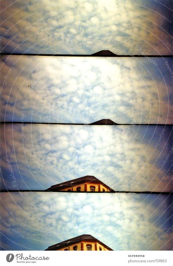 Cloudy City House (Residential Structure) Roof Clouds Leipzig Yellow Red White Window Sky Blue Lomography supersampler